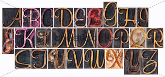 alphabet in ornamental wood type