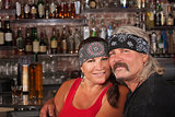 Loving Husband and Wife in Bandannas