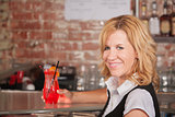 Happy Waitress with Drink