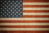 USA flag on grunge canvas background