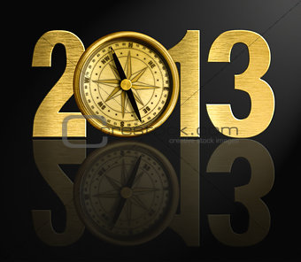 2013 new year digits with golden compass illustration