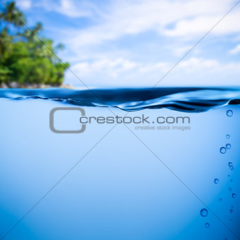 tropical sea underwater background with horizon on water surface