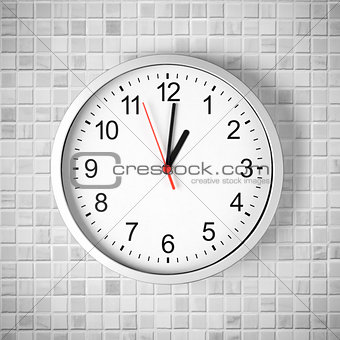 Simple clock or watch on white tile wall displaying one o'clock