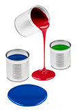 Red, green, blue liquid paints isolated