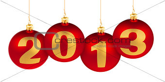 2013 new year digits made of christmas tree decoration red balls
