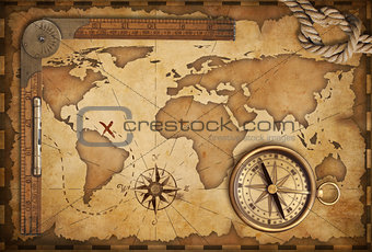 aged treasure map, ruler, rope and old brass compass still life
