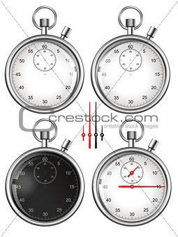 Set of stopwatches and parts ready for your design. Illustration