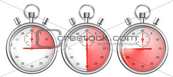 stopwatches set isolated on white with 15, 30, 45 seconds period