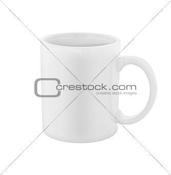 white coffee cup isolated with clipping path included