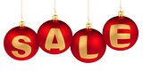 sale word made of christmas tree decoration red balls for winter