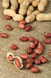 Closeup Peanuts on burlap