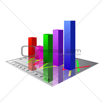 Vector 3D bar graph isolated on white background