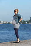 Pregnant Woman on Pier