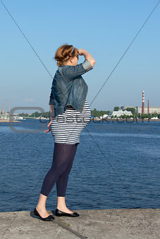 Pregnant Woman on Pier