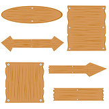Wooden boards on white background