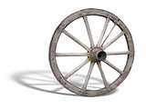 Antique Cart Wheel made of wood and iron-lined with shadow