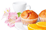 Two muffins, orange and flowers