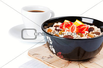 Coffee cup and porridge