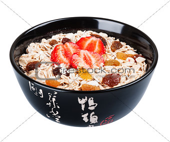 Porridge  in black dish