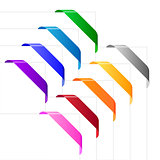 Corner ribbons in various colors. Also available as a Vector in Adobe illustrator EPS format, compressed in a zip file.