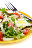 Salad with tomatoes, chicken and Parmesan cheese.