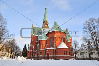 Kotka, Finland. Lutheran Cathedral in winter