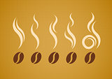 Vector set of coffee beans with steam  