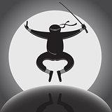 Vector ninja over full moon background