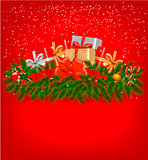 Christmas background with presents and a ribbon. Vector illustration.