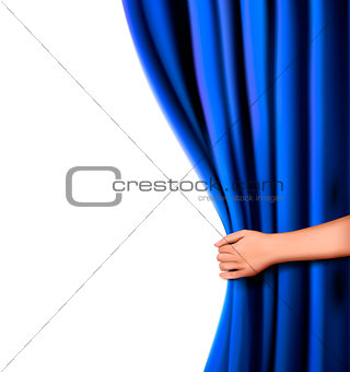 Background with blue velvet curtain and hand. Vector illustration.