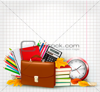 Back to school Background with school supplies. Vector
