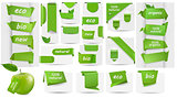 Collection with Eco tags and labels and stickers. Vector