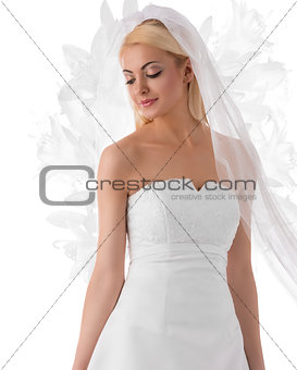 blonde bride with veil turned at right
