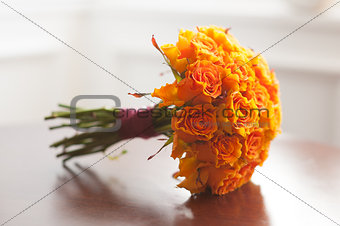 wedding bouquet orange roses