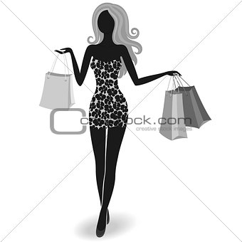 Silhouette of a shopping girl