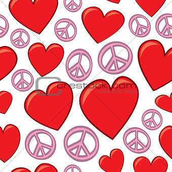 Seamless Hearts and Peace Signs