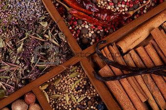 Cinnamon Sticks, Vanilla Pods and Spices