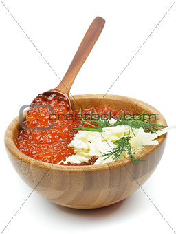 Wood Bowl of Red Caviar
