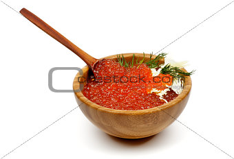 Red Caviar in Wood Bowl