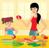 Mum teaches daughter to prepare