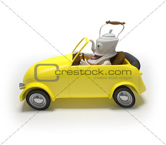 Creative mini car with teapot