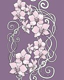 Seamless vertical floral pattern with orchid