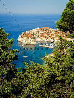 View of Dubrovnik old town with blue ocean