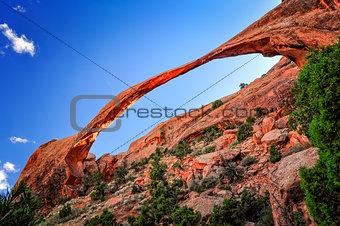 Long arch landscape view, Arches National Park, Utah