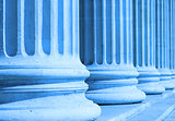 neoclassical columns closeup blue