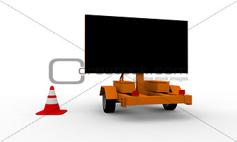 Roadworks cart with signboard