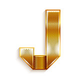 Letter metal gold ribbon - J