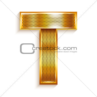 Letter metal gold ribbon - T