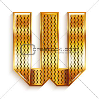 Letter metal gold ribbon - W