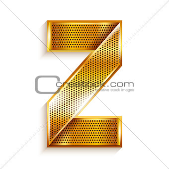 Letter metal gold ribbon - Z
